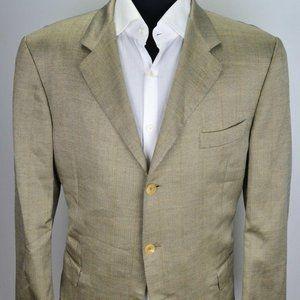 Hickey Freeman Brown Orange Plaid Silk sport coat